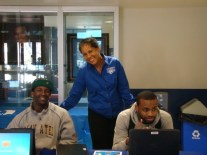 Mrs. Conway with students in the Student Center