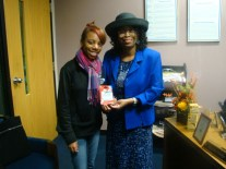 Mrs. Whitfield with a student winner, Kristina Allen