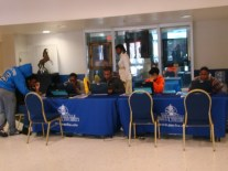 Students taking the survey in the Student Center