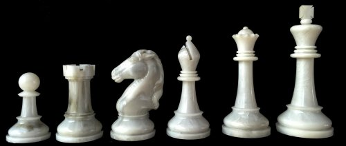 Vintage Cavalier Tournament Edition Alabaster Chessmen