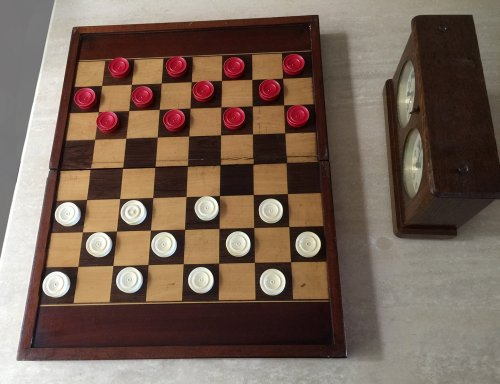 """Antique Ivory Draughts Checkers, 1.2"""" x 0.4"""""""