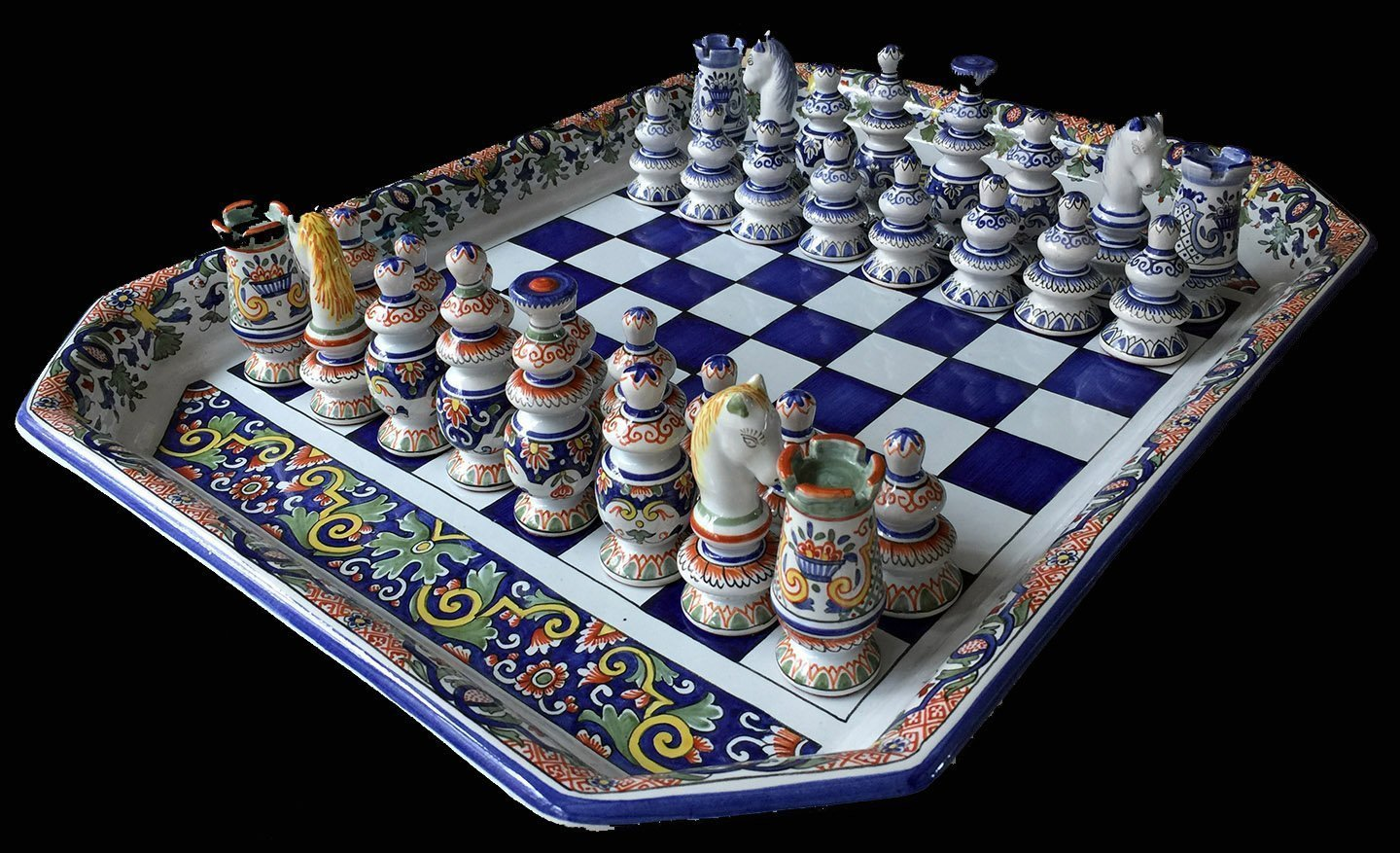 French Faience Antique Chess Set Www Chessantiques Com