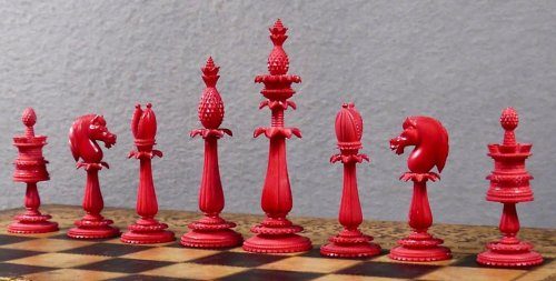 Original Ivory Lund Anglo-Indian Chessmen