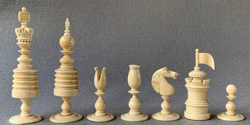 Type II English Open Crown Barleycorn Chessmen