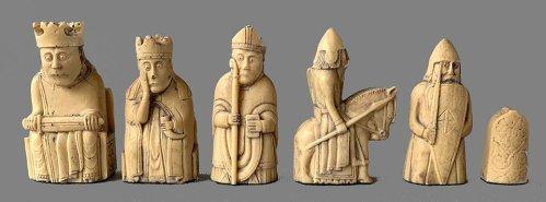 Isle of Lewis Chess Set, Black and Ivory Stone Resin