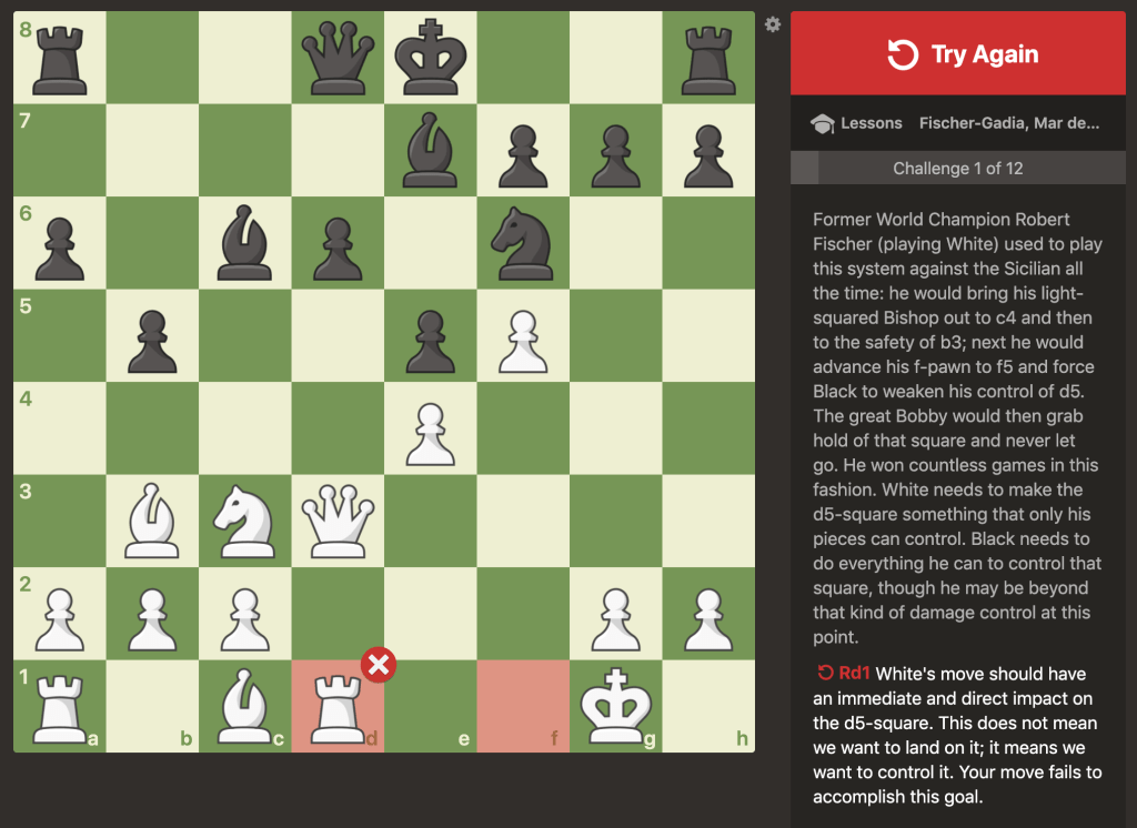 Fischer lesson wrong move