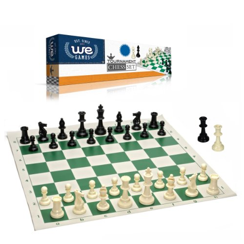 Best Value Tournament Chess Set – 90% Plastic Filled Chess Pieces and Green Roll-up Vinyl Chess Board