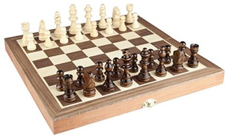 Chess Set 12″x12″ Folding Wooden Standard Travel International Chess Game Board Set with Magnetic Crafted Pieces