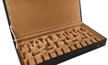 Flat Storage Box For Up To 4″ Staunton Chess Men Set Black Faux Leather w/ Beige Velvet lining