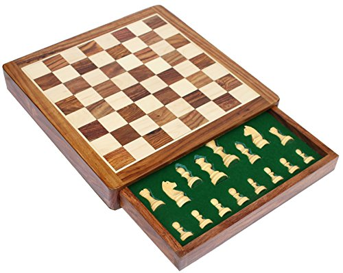 12×12″ SouvNear Chess Set Sale – Standard Magnetic Chess Board Game with Chessmen Storage Drawer Handmade in Fine Rosewood – Non-Folding