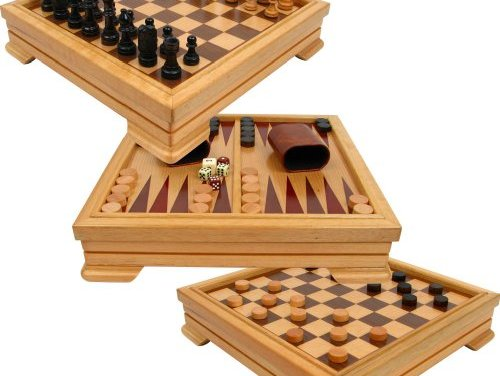 Deluxe 7-in-1 Game Set – Chess, Checkers, Backgammon and More, Brown