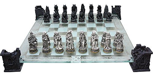Original Fantasy Vampire and Werewolf Themed Glass Chess Set by Haysom Interiors