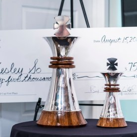 The trophy for the champion and the prize money represented by the check for the champion of Sinquefield Cup 2016.