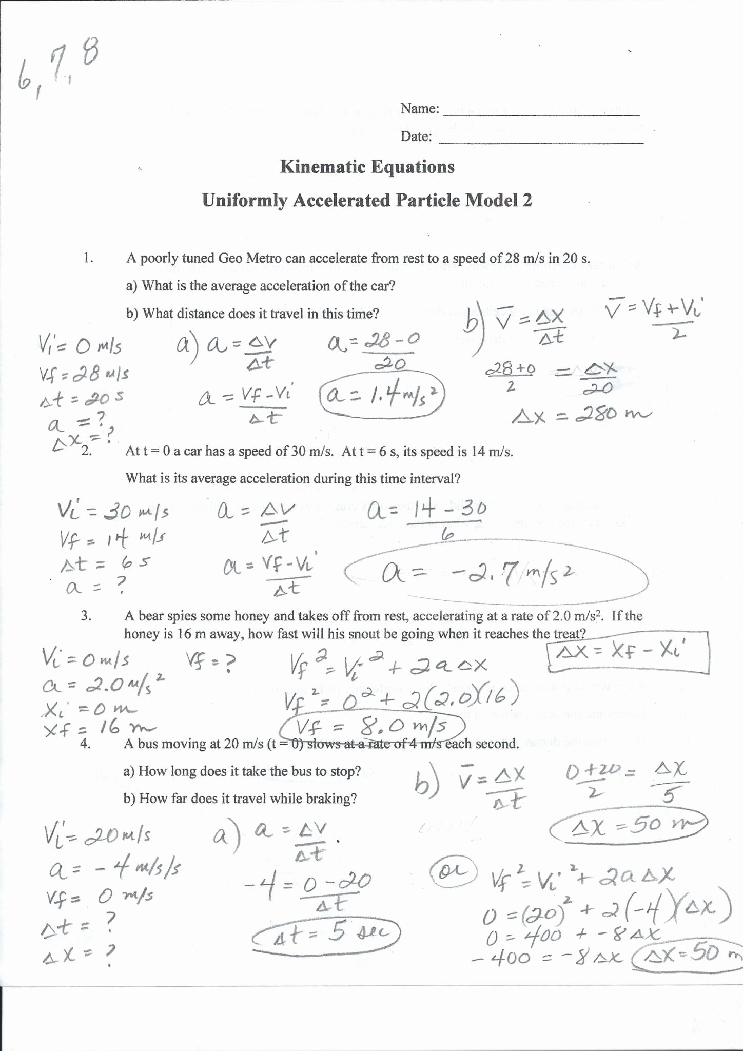 50 Acceleration Practice Problems Worksheet