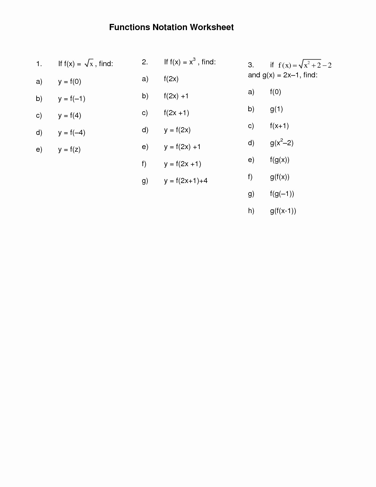 50 Algebra 1 Functions Worksheet