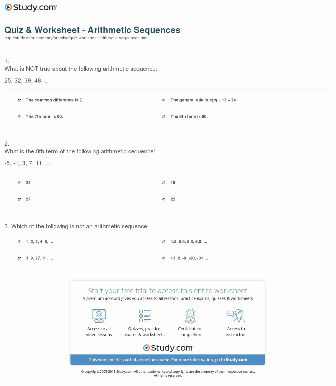 50 Arithmetic Sequences Worksheet Answers