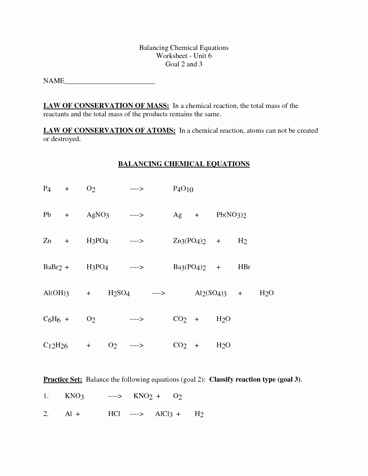 50 Balancing Chemical Equation Worksheet