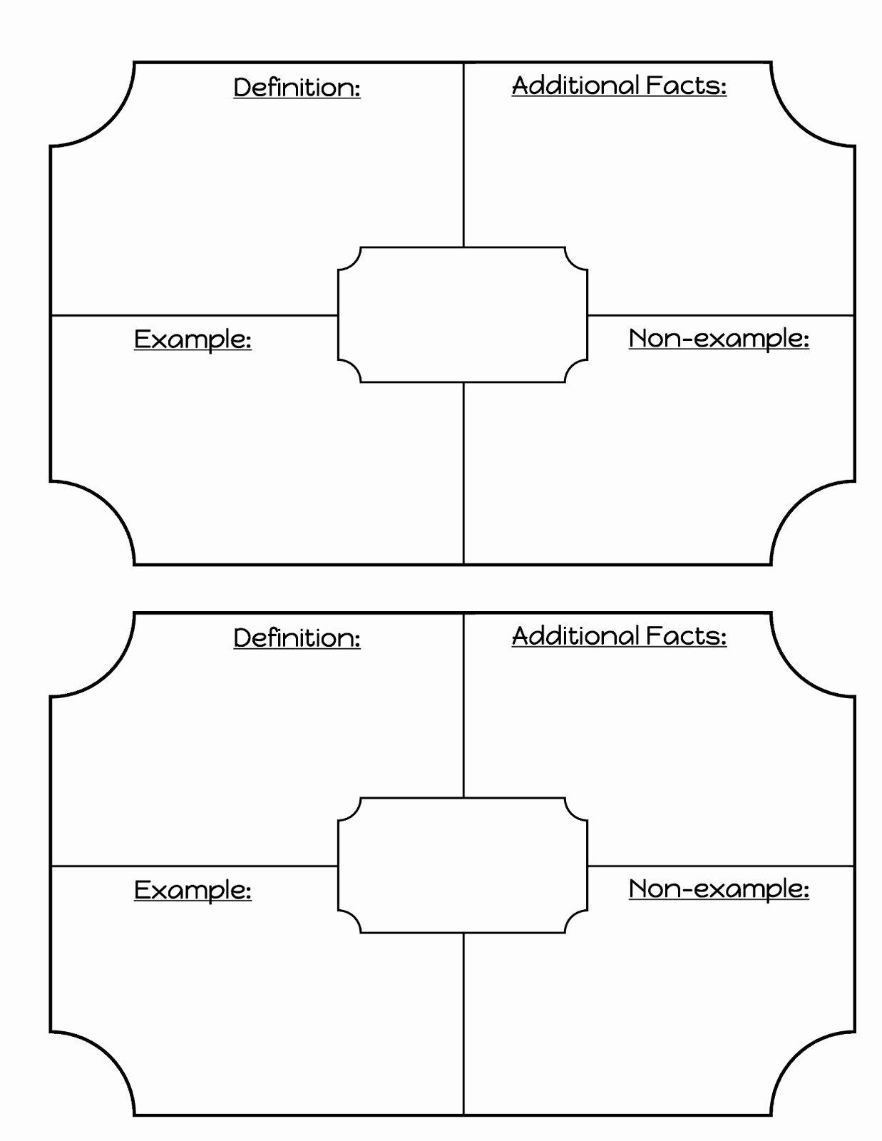 50 Blank Vocabulary Worksheet Template