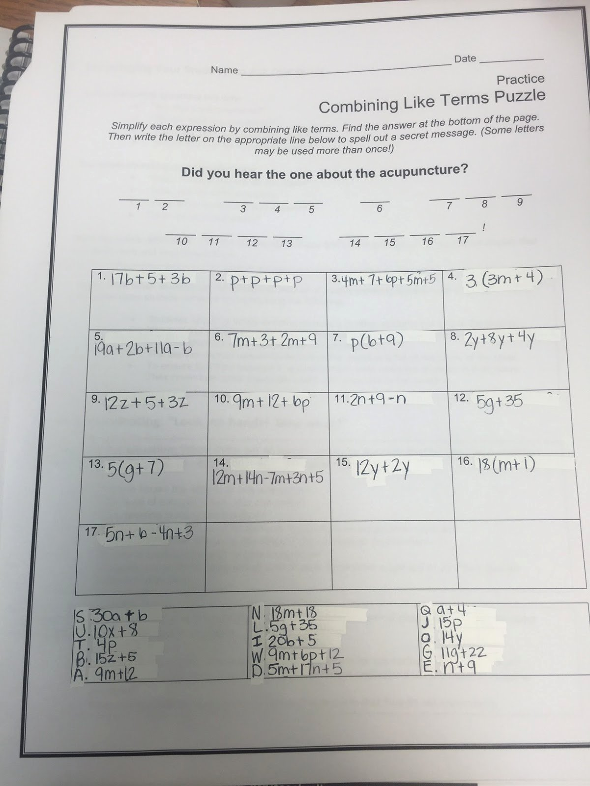 50 Combining Like Terms Worksheet
