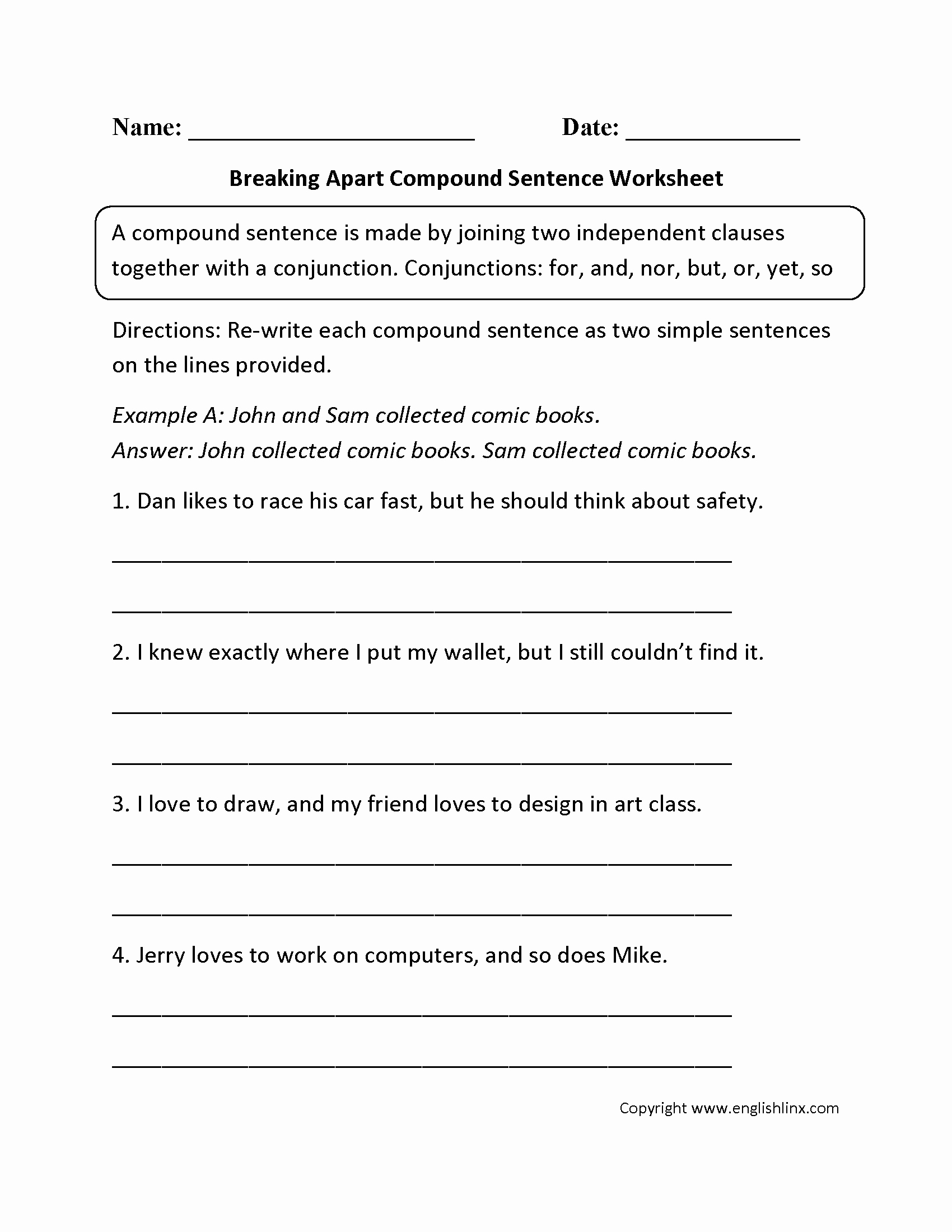 49 Compound And Complex Sentences Worksheet