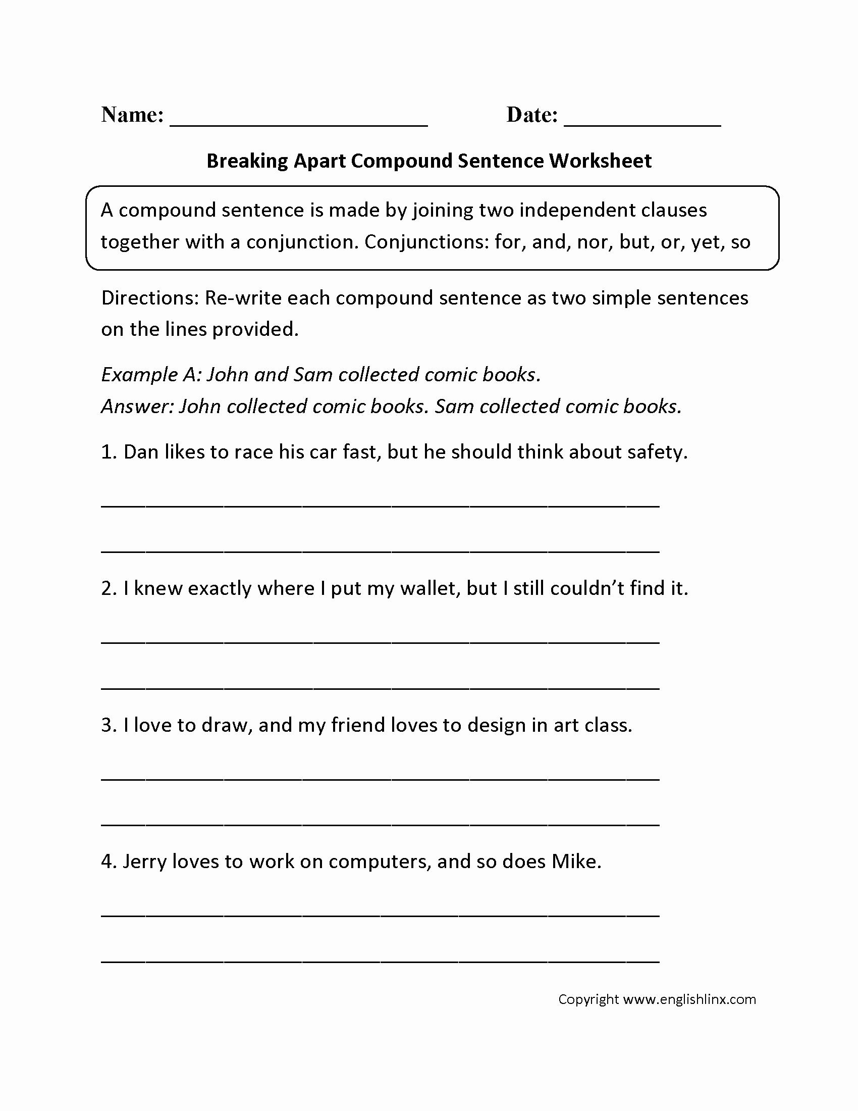 50 Compound Sentences Worksheet