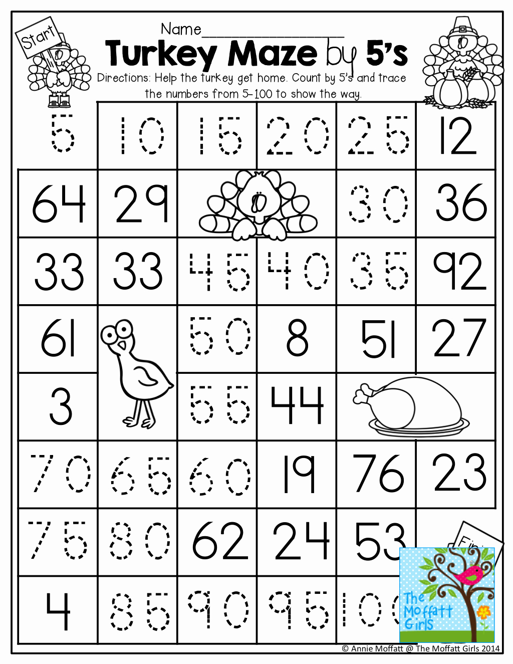 50 Count By 5s Worksheet