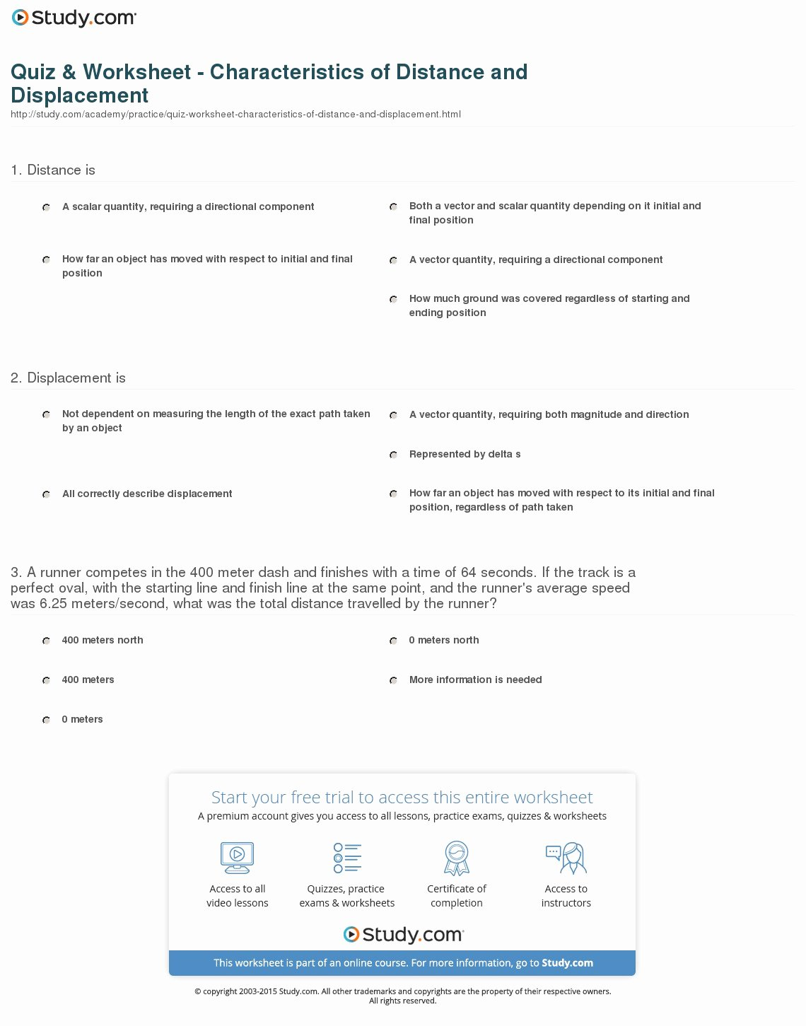 50 Distance And Displacement Worksheet Answers