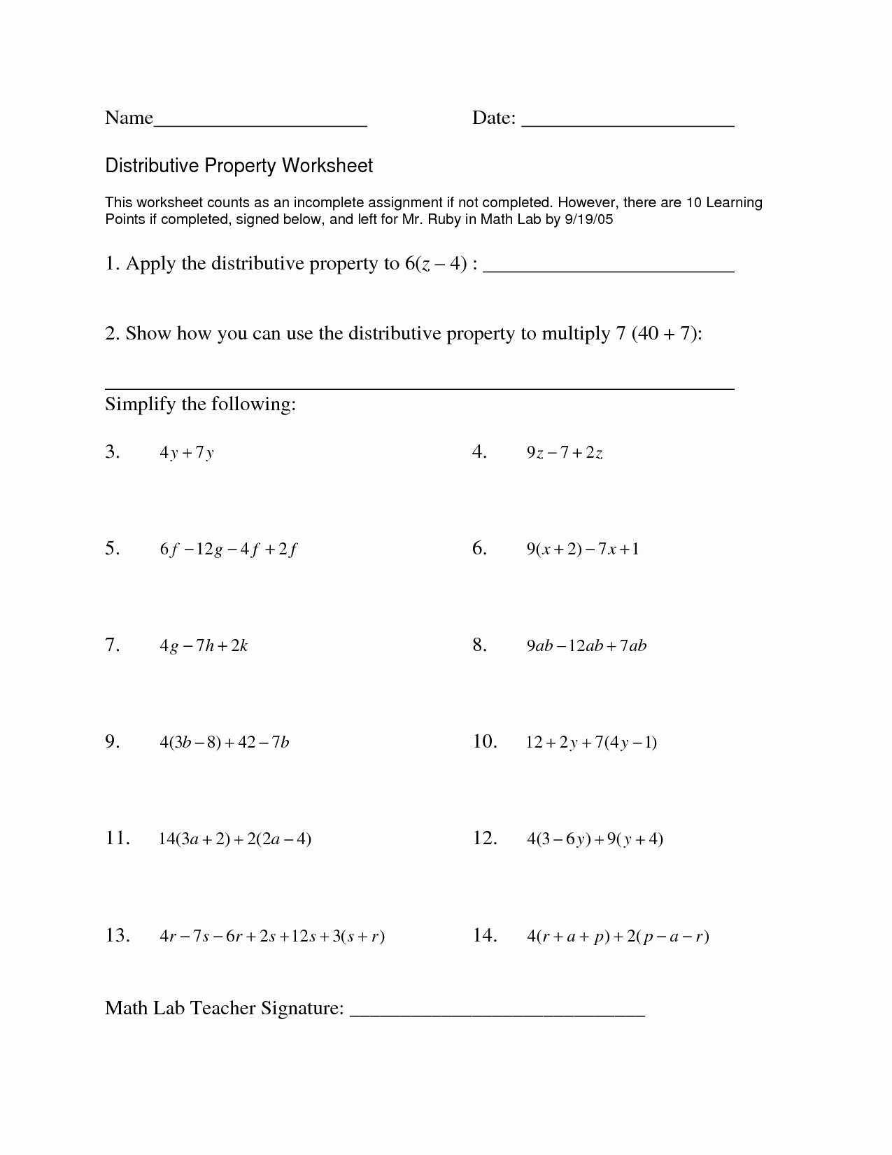45 Distributive Property With Variables Worksheet