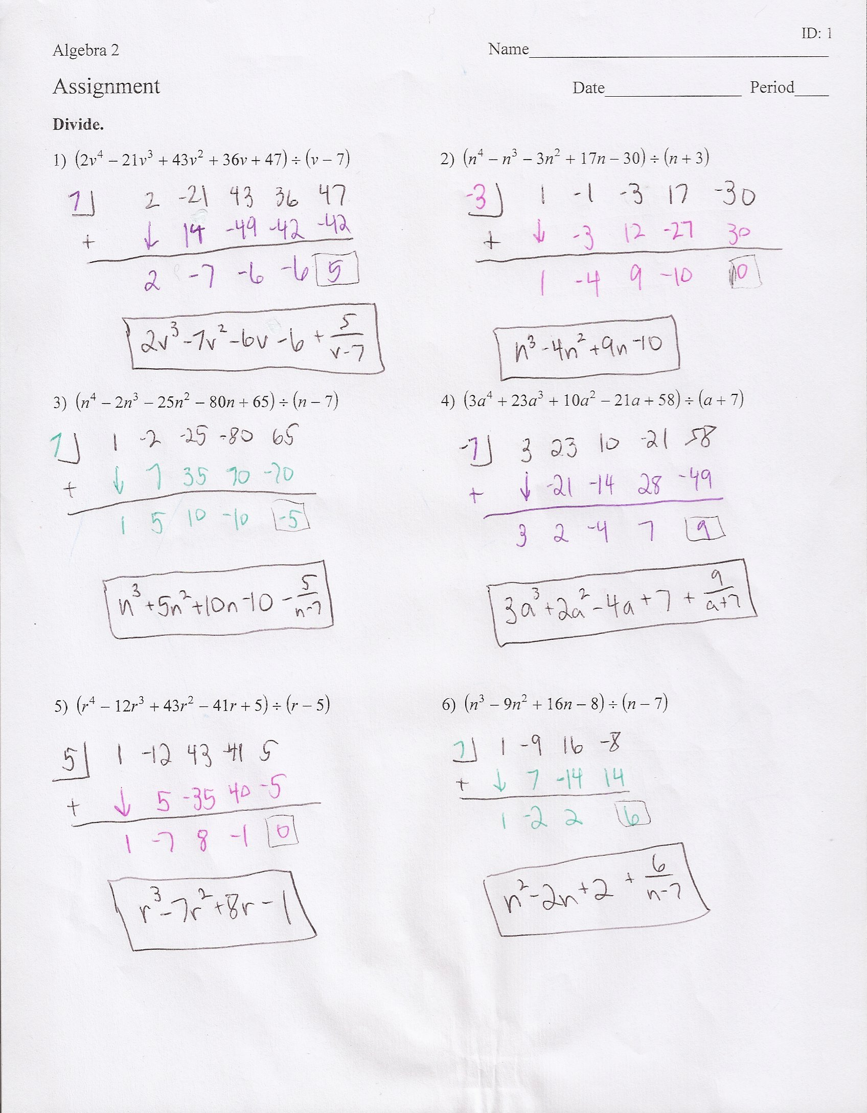 Long Division Of Polynomials Worksheet With Answers