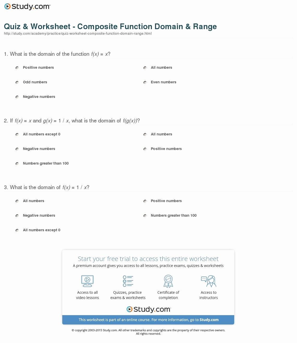 50 Domain And Range Practice Worksheet
