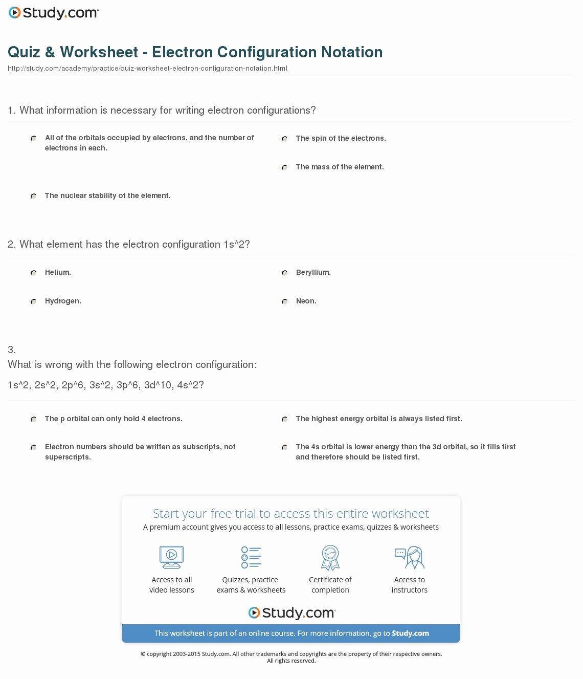 45 Electron Configuration Practice Worksheet