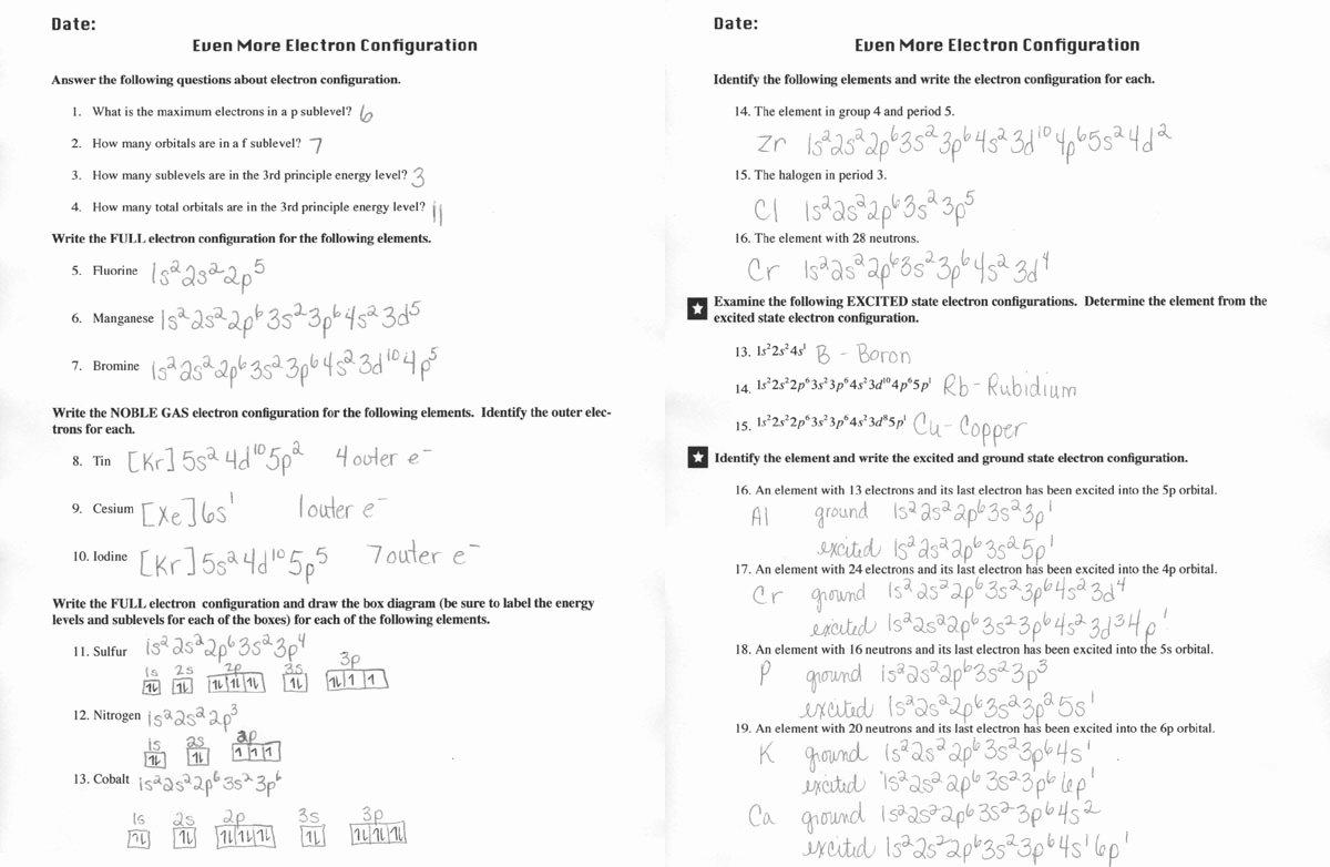 50 Electron Configuration Worksheet Answers Key