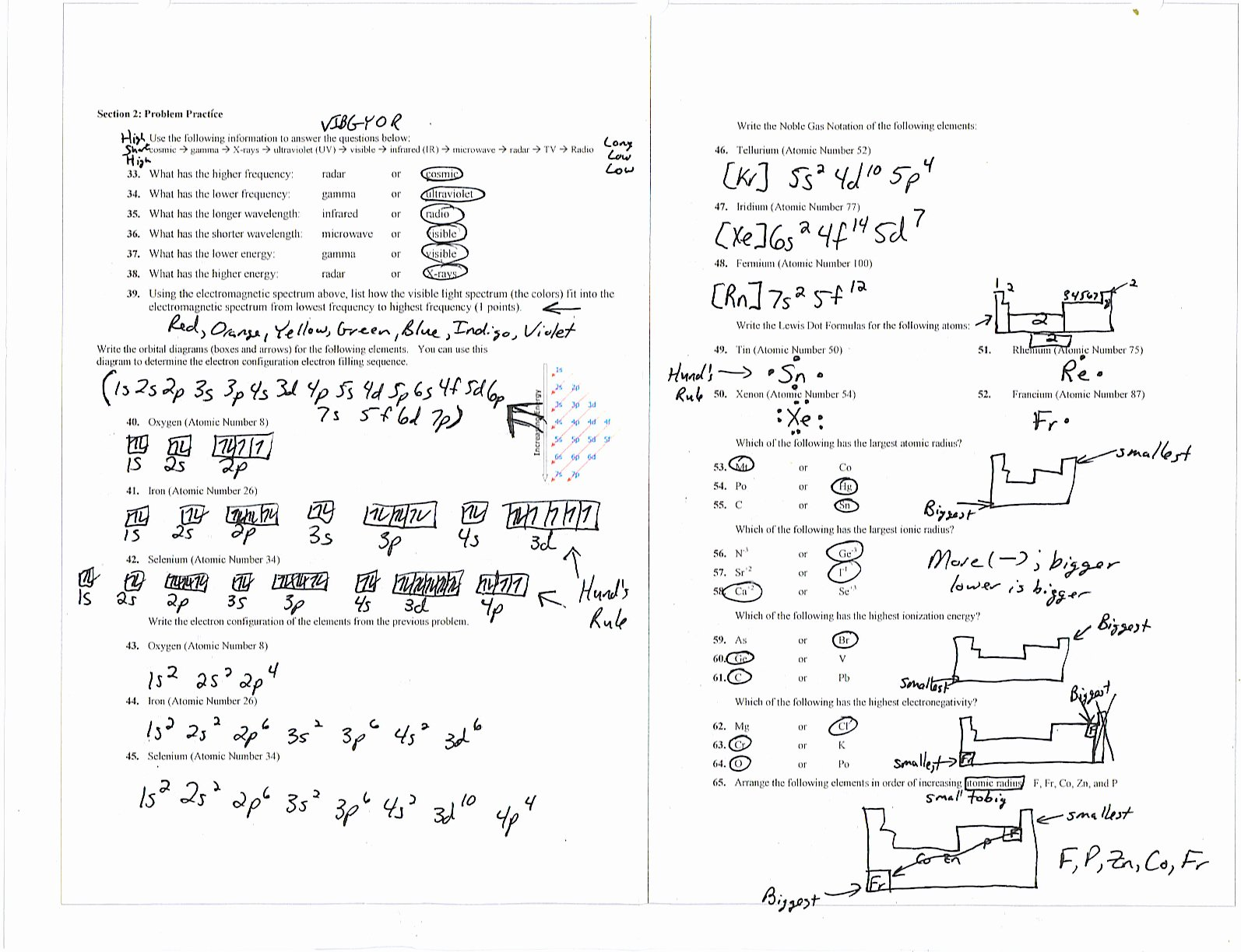 50 Electron Configurations Worksheet Answer Key