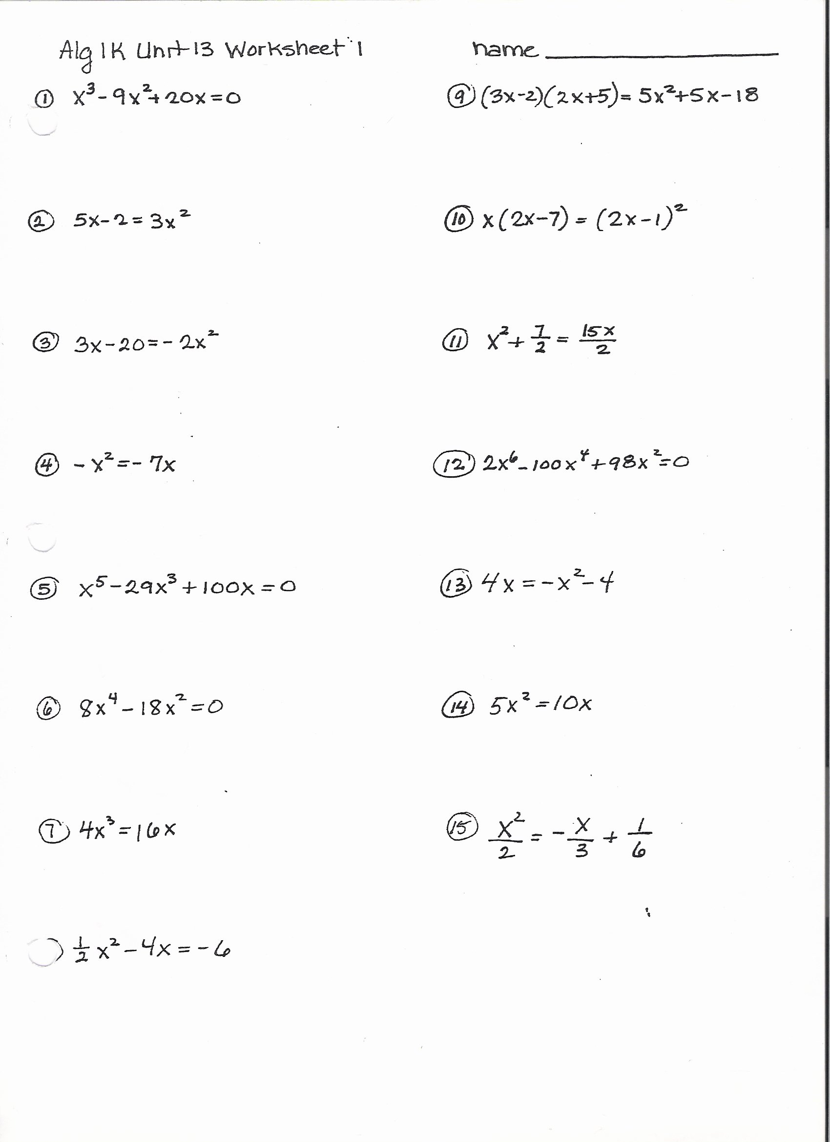 50 Factoring Worksheet With Answers
