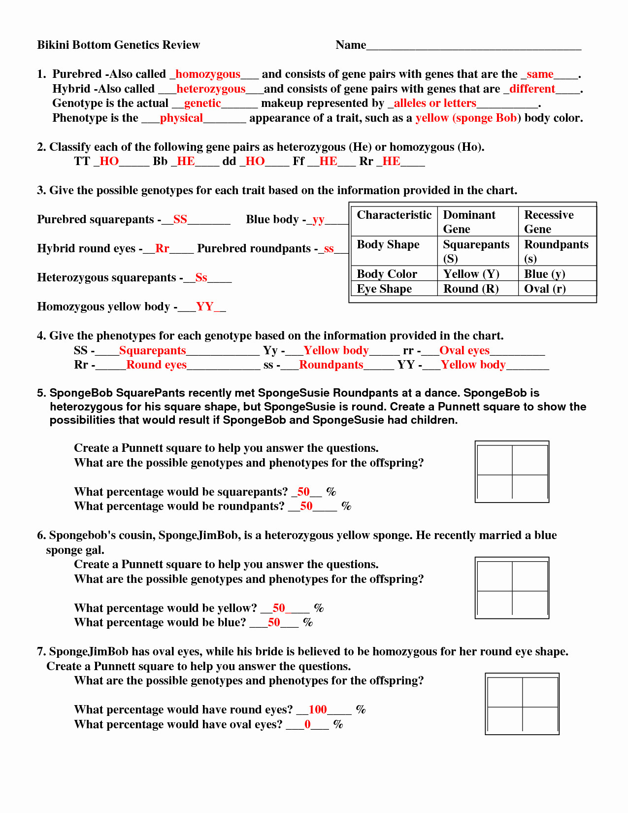 50 Genetics Problems Worksheet Answer Key