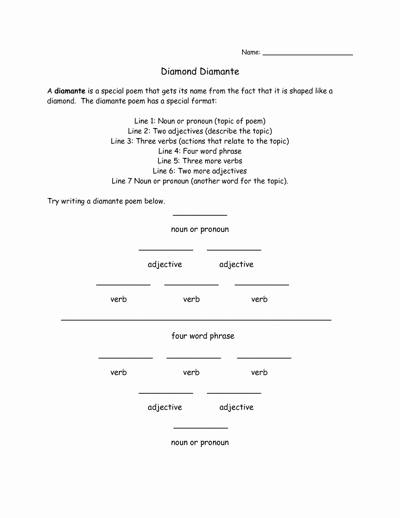 50 I Am Poem Worksheet