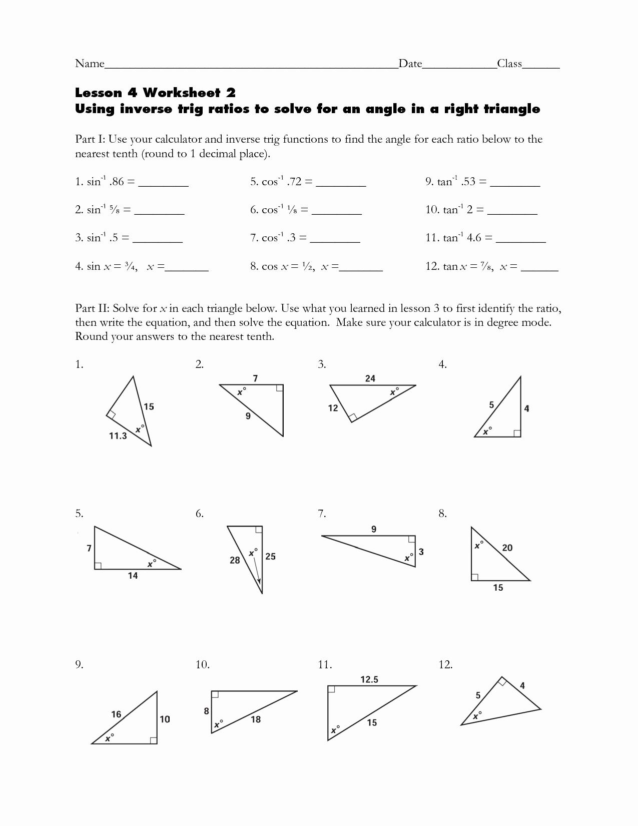 50 Inverse Trigonometric Functions Worksheet