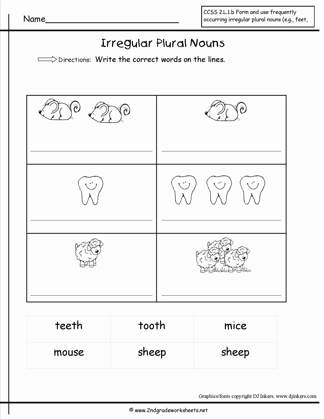 50 Irregular Plural Nouns Worksheet