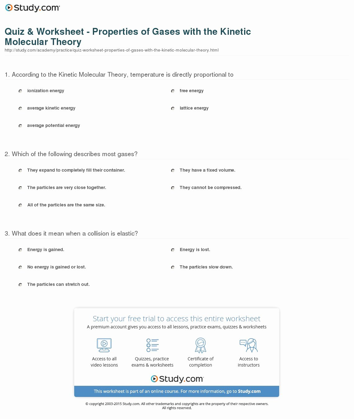 50 Kinetic Molecular Theory Worksheet