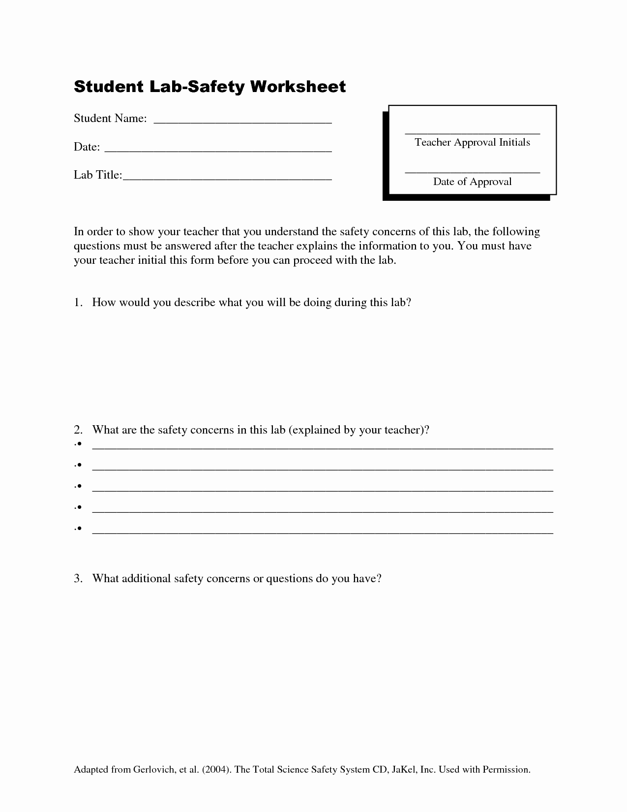 50 Lab Safety Worksheet