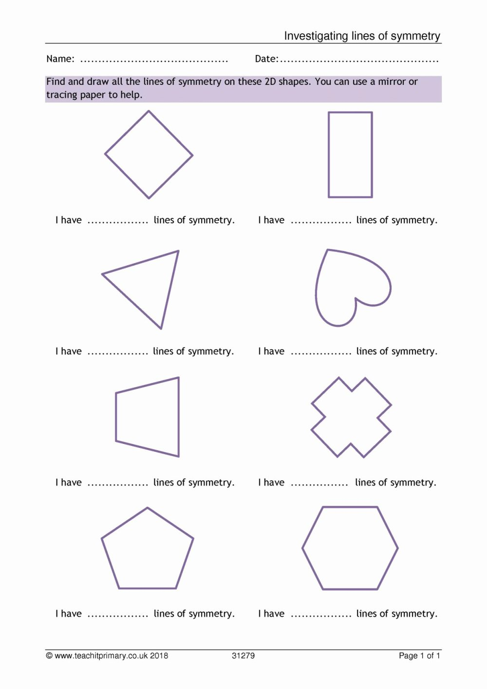 medium resolution of Drawing Lines Of Symmetry Worksheet   Printable Worksheets and Activities  for Teachers