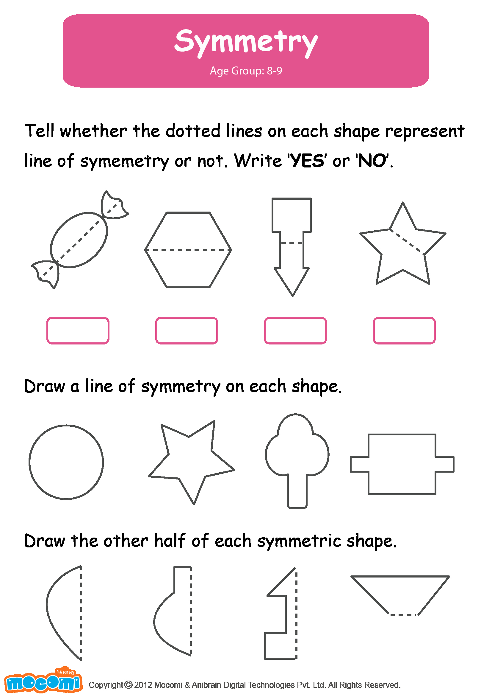 50 Line Of Symmetry Worksheet