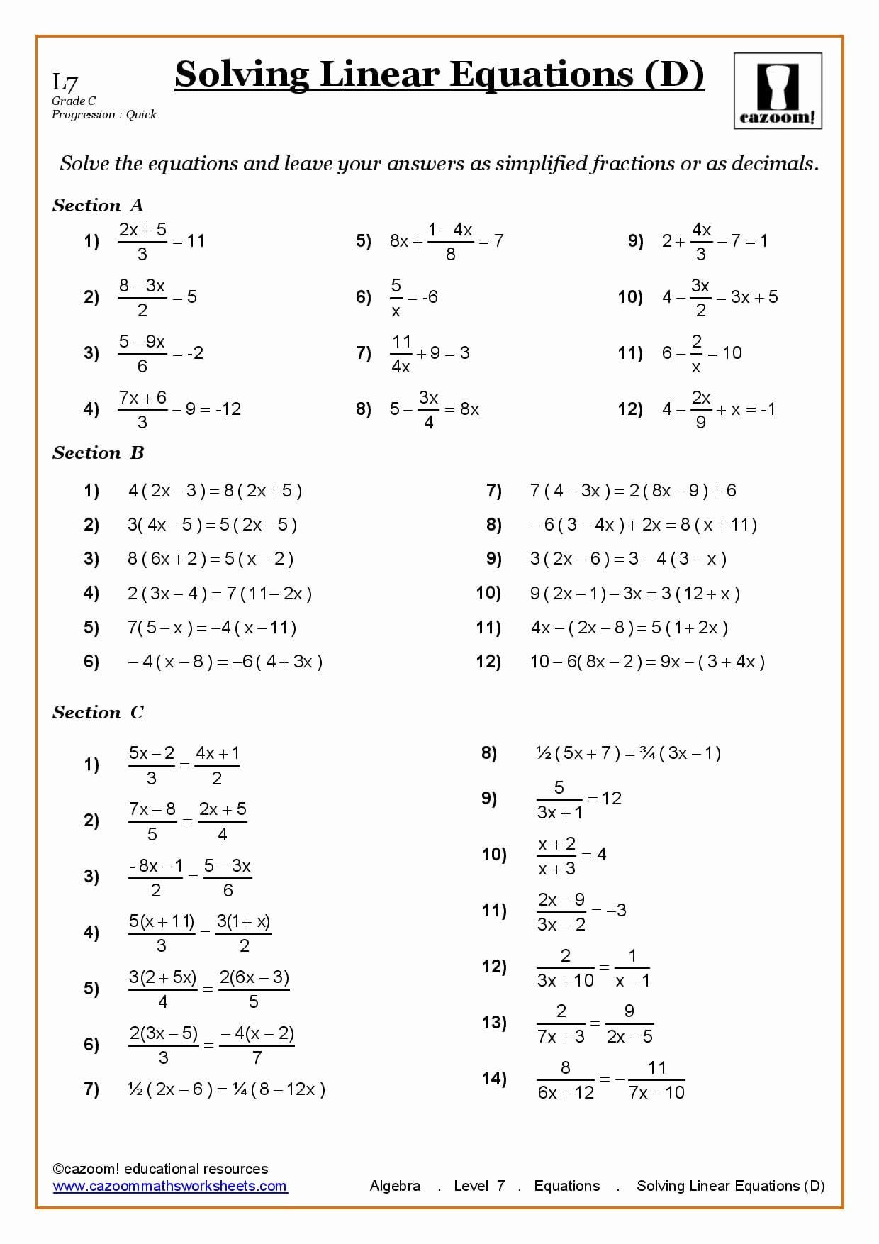 50 Linear Equation Worksheet