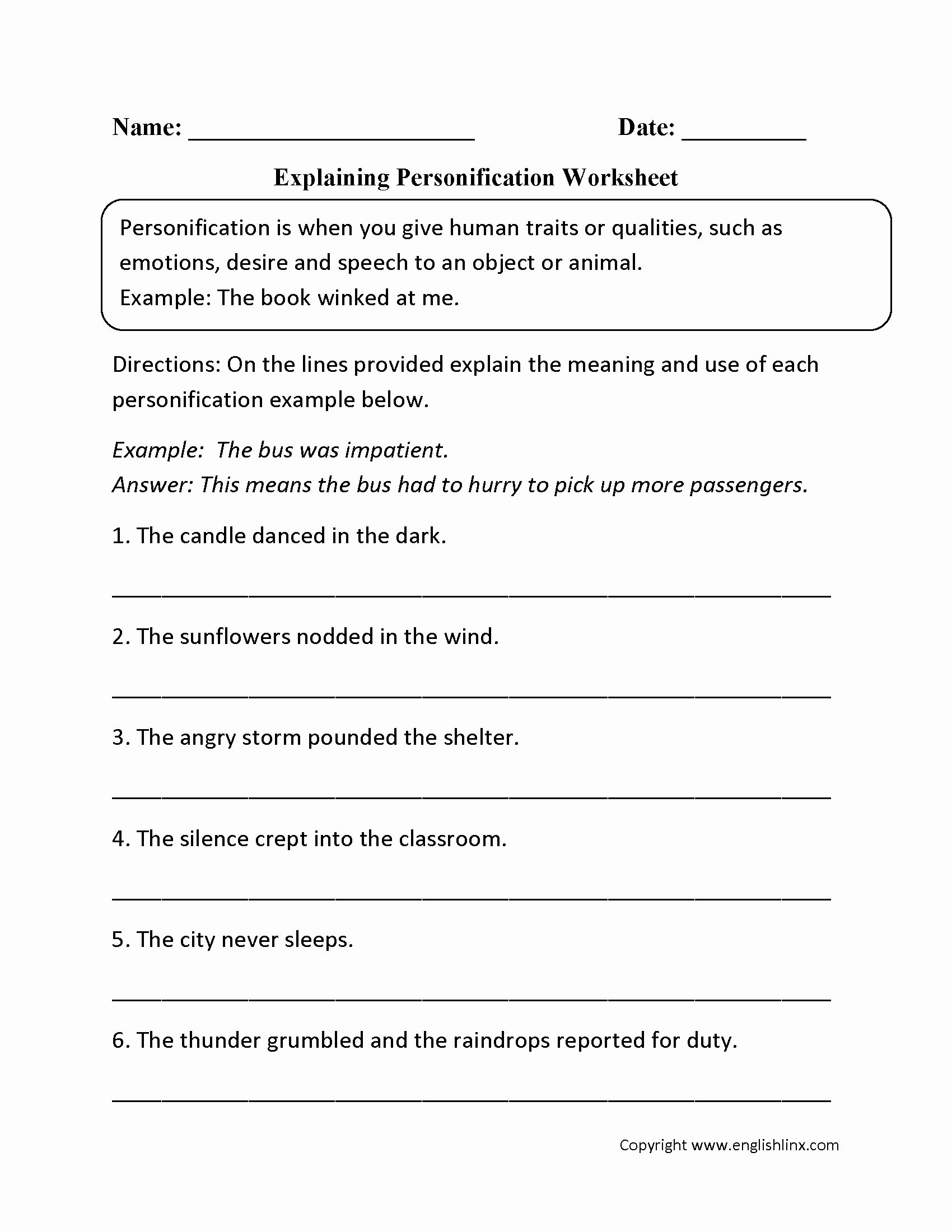 50 Literary Devices Worksheet