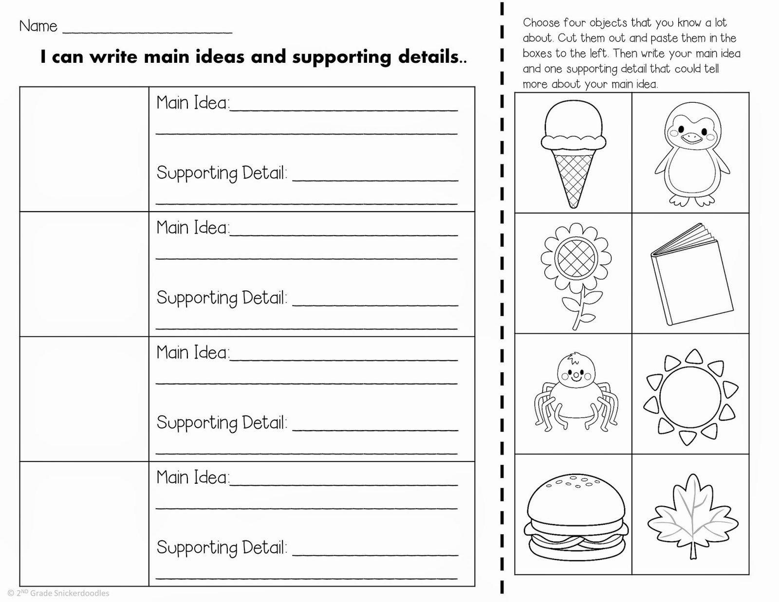 50 Main Idea Worksheet 2nd Grade