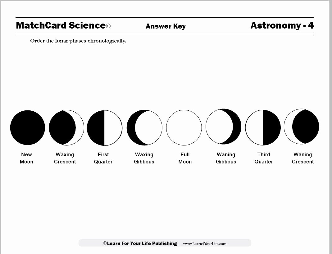 50 Moon Phases Worksheet Answers