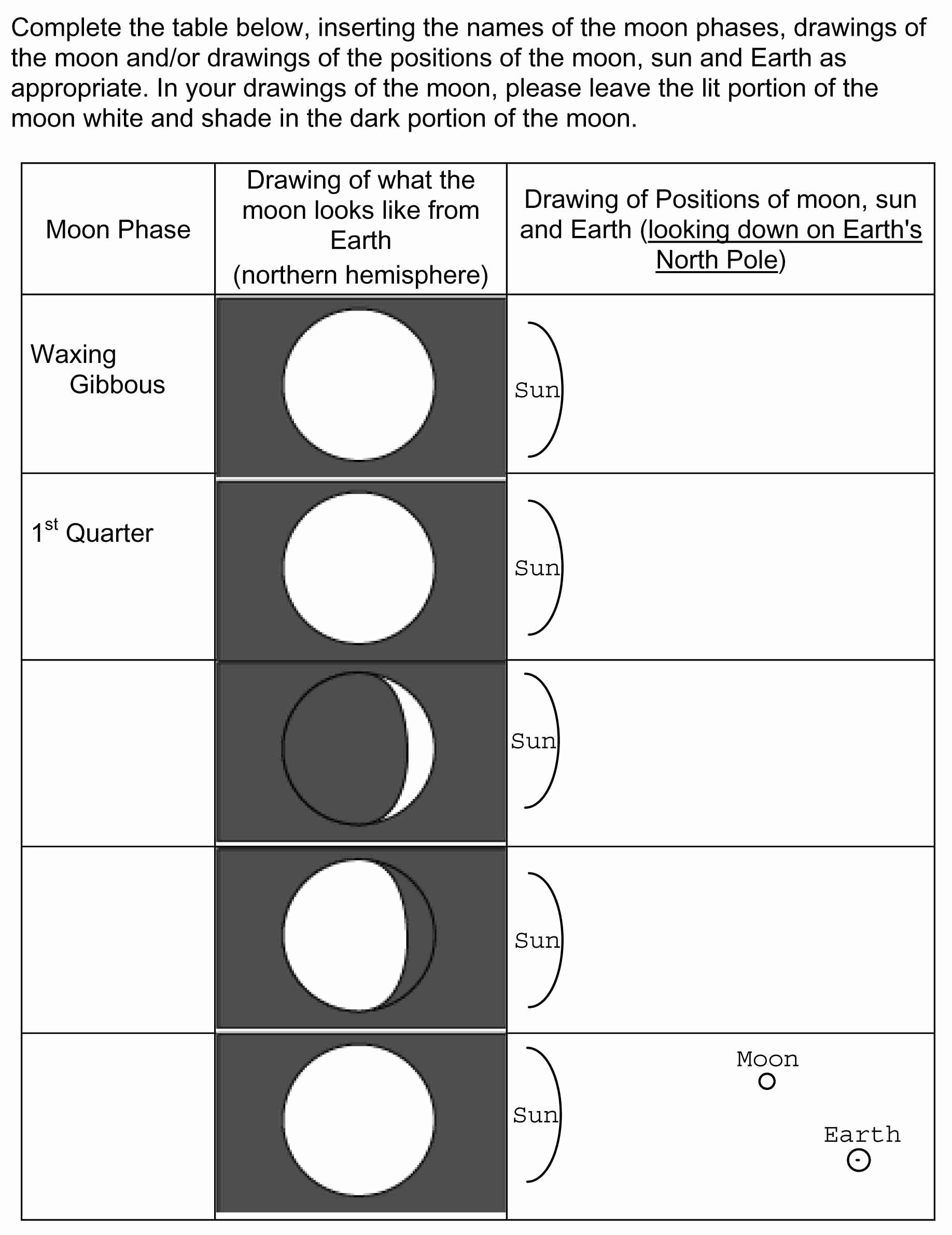 50 Moon Phases Worksheet