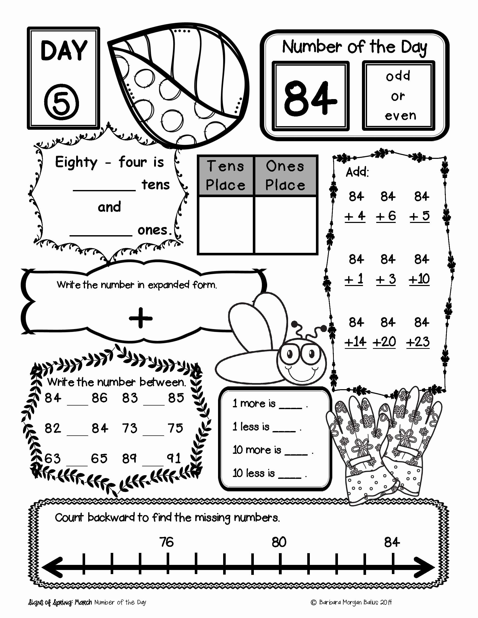50 Number Of The Day Worksheet