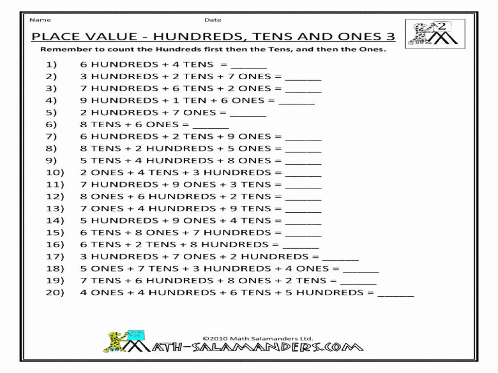 50 Ones Tens Hundreds Worksheet