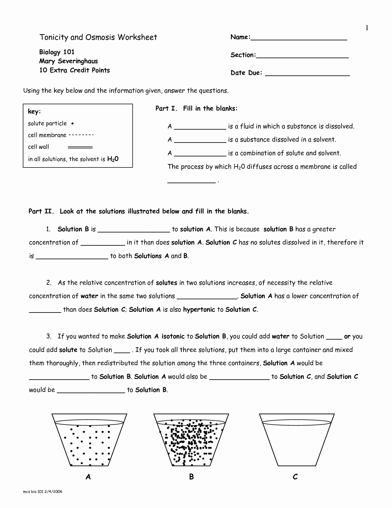 50 Osmosis And Tonicity Worksheet